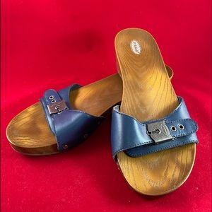 Dr Scholl's Wooden Look Navy Flip Flops size 10